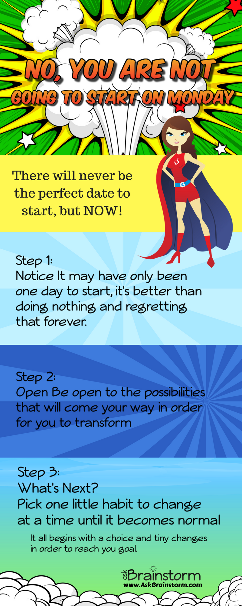 No, You Are Not Going To Start On Monday! : How To Stop Waiting For The Right Time To Start & Do It NOW! Infographic. Ask Brainstorm